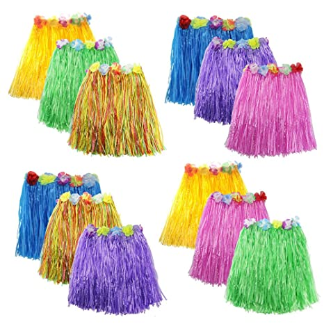 bdeb746d7989 Amazon.com: Zilong 12 Pack Elastic Hawaiian Grass Hula Skirt Dance ...