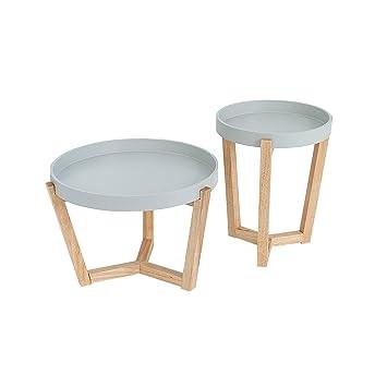 Design Retro 2er Set Beistelltische Scandinavia Grau Eiche