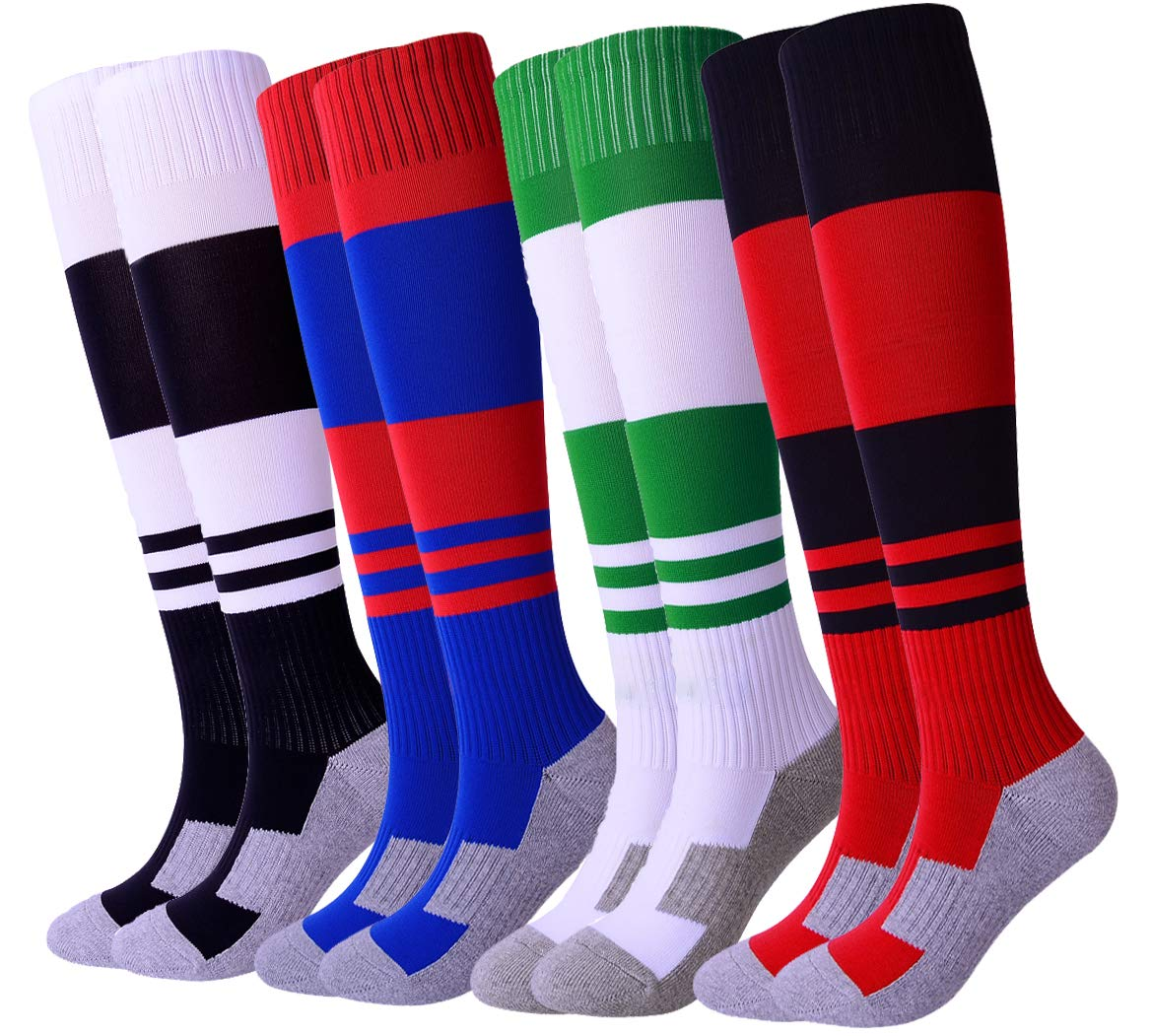 Kids Soccer Socks 4 Pack Knee High Cushioned Bottom Football Socks for Boys Girls (Black/White/Green/Navy) A by Gupying