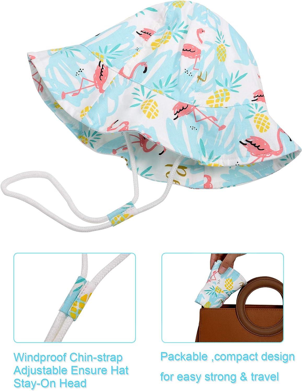 Geyoga Baby Hat Toddler Summer Bucket Hat Kid Wide Brim Sun Protection Hat Children Beach Swimwear Bucket Cap with Chin Strap Flamingo Pattern