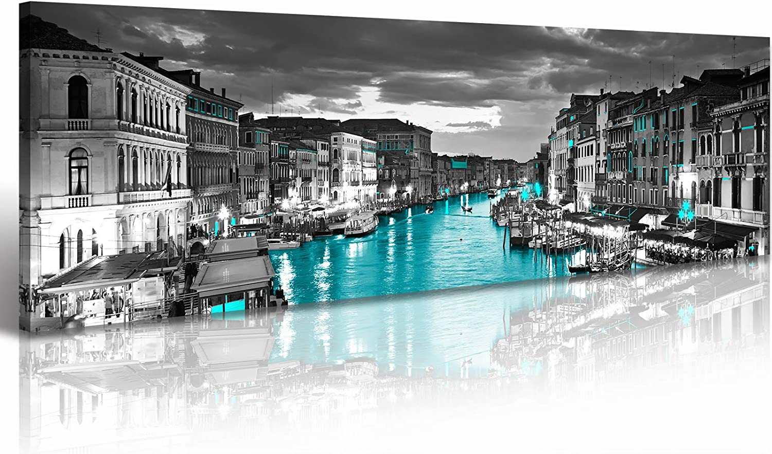 Venice Skyline Wall Art Black and White City Canvas Artwork Italy Cityscape Coastal Aqua Green Teal Waterfront Painting Poster for Bedroom Office Decoration Modern Home Art Stretch Framed Ready Hang