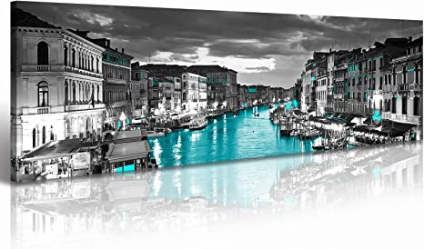 Amazon Com Venice Skyline Wall Art Black And White City Canvas Artwork Italy Cityscape Coastal Aqua Green Teal Waterfront Painting Poster For Bedroom Office Decoration 14 X48 Modern Home Art Stretch Framed Ready To