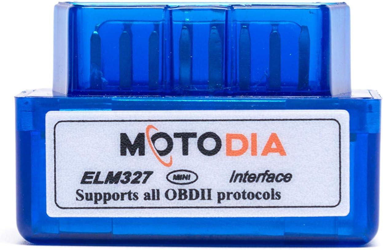 MotoDia ELM327 - escáner de diagnóstico a bordo del motor iCar, conexión Bluetooth, con códigos de error y función de borrado de errores (solo compatible con Android)