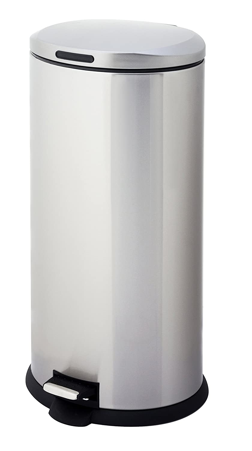 Amazon.com: HomeZone VA40914A 30L Stainless Steel Oval Step Trash Can: Home  & Kitchen