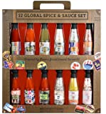 Thoughtfully Gifts, Global Spice and Sauce Set, Includes a Variety of 6 Delicious Hot Sauces and 6 Gourmet Salts, Set of…