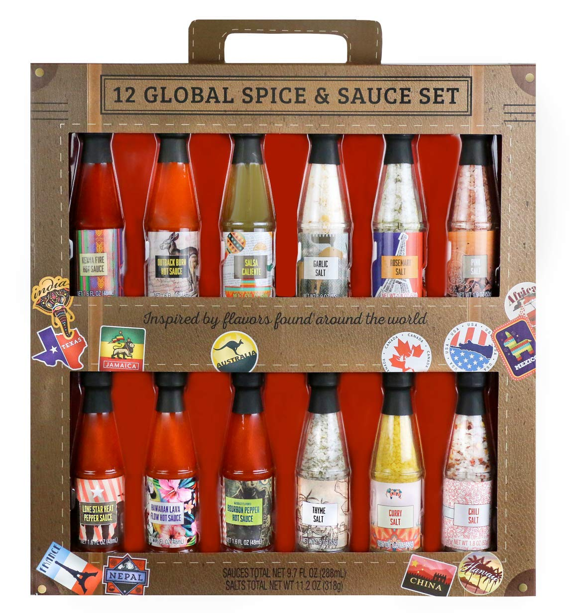 Thoughtfully Gifts, Global Spice and Sauce Set, Includes a Variety of 6 Delicious Hot Sauces and 6 Gourmet Salts, Set of 12