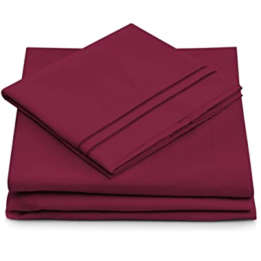 Cosy House Collection Full Size Bed Sheets - Fuchsia Luxury Sheet Set - Deep Pocket - Super Soft Hotel Bedding - Cool & Wrinkle Free - 1 Fitted, 1 Flat, 2 Pillow Cases - Magenta Full Sheets - 4 Piece