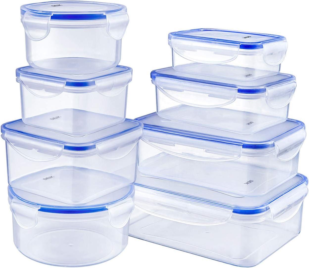 DEIK Fiambreras, Contenedores de Alimentos, Set de Recipientes Herméticos, 8 Piezas, Sin BPA, Apta para lavavajillas, congelador, Tamaños variados, Color transparente