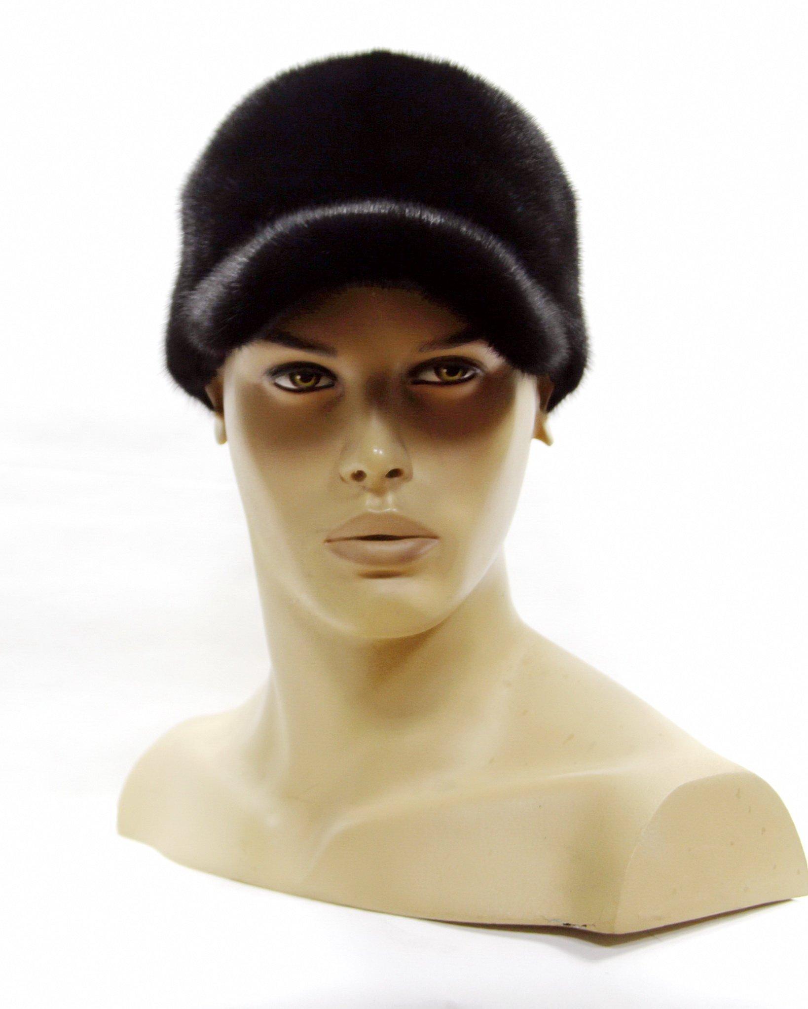 Men's baseball cap is made of natural mink fur handmade.