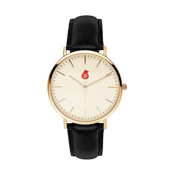 Reloj De Pulsera De Hombre De Berlín Bling - Elegante Quartz de reloj con pulsera de piel auténtica - charlotten Burg Edition: Amazon.es: Relojes