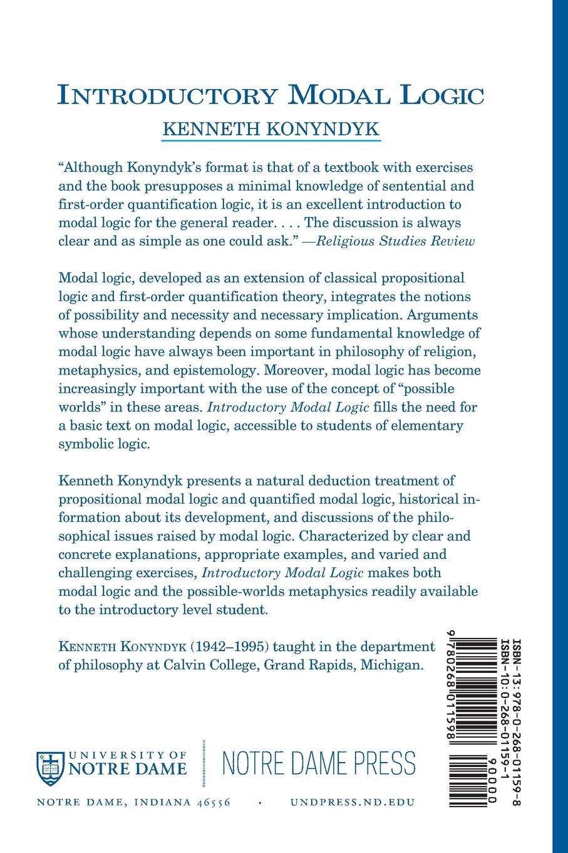 Introductory Modal Logic Kenneth J Jr Konyndyk 9780268011598