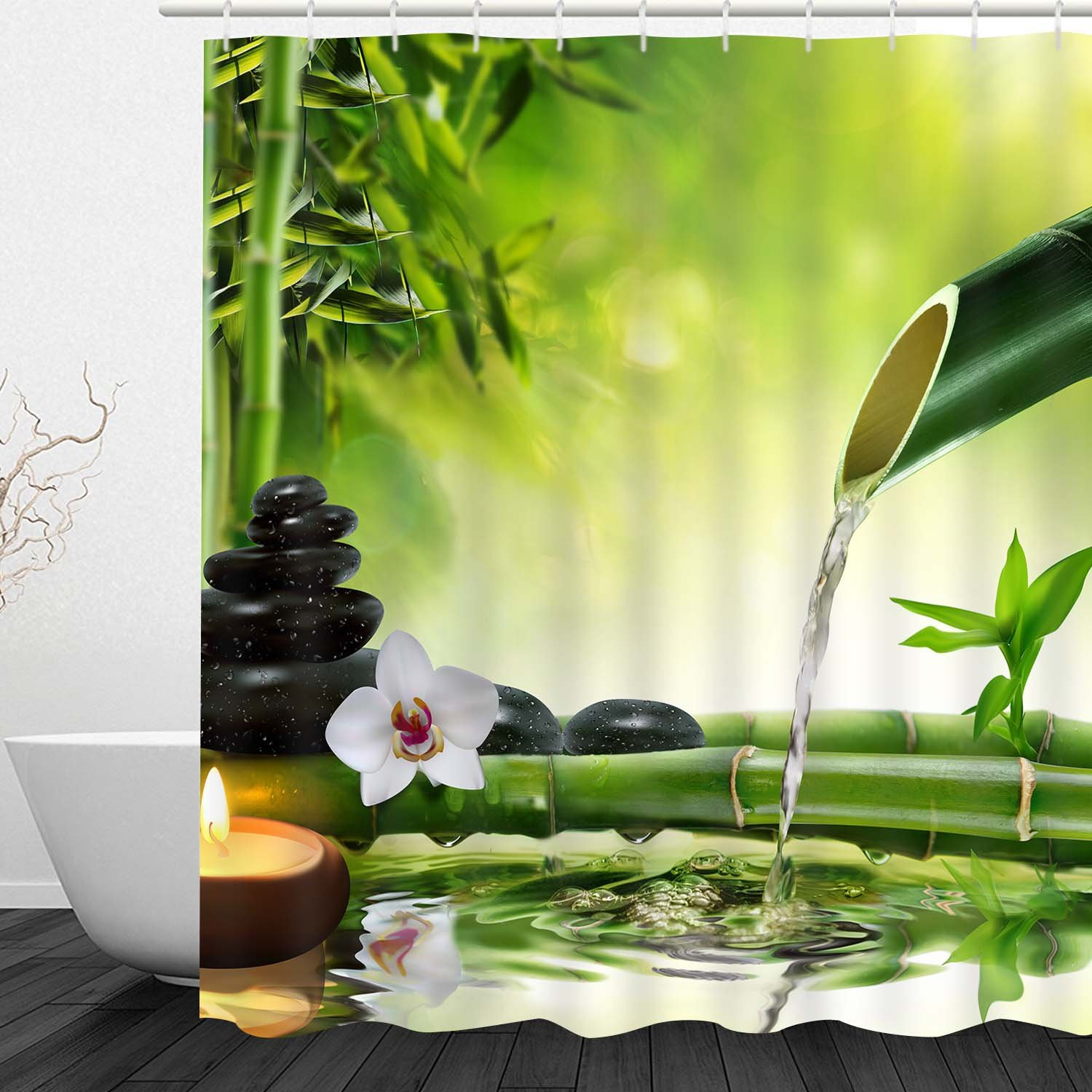 "Bathroom Shower Curtain Bathroom Curtain Bamboo Water Zen Durable Fabric Bath Curtain Bathroom Accessories Ideas Kitchen Window Curtain with 12 Hooks (Zen Jasmine Bamboo 2, 72"" L × 69"" W)"