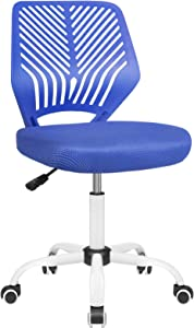 BOSSIN Kids Desk Office Chair for Teens Computer Mesh Chair with Low-Back Armless Adjustable Swivel Ergonomic Home Office Student Chair Black White (Blue-1)