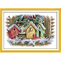 Joy Sunday Cross Stitch Kits Easy Patterns Embroidery for Girls Crafts DMC Cross-Stitch Supplies Needlework Scenery Series Counted Kits:Bird House