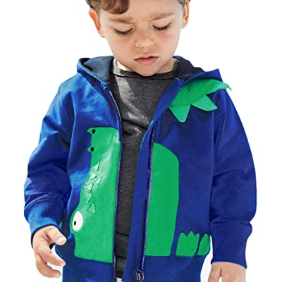 AutumnFall Kids Tops Baby Boys Girls Dinosaur Hooded Zipper Tops Clothes Coat