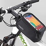 Roswheel Bicyclette Sacoche de Selle Pochette de Rangement Sac pochette avant Titulaire Tube de portable avec écran clair de PVC Audio Extension Ligne 5,5'' Téléphone 1.7L Cellulaire (Noir 1.7L)
