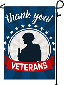 "PAMBO Thank You Veterans Garden Flag | Burlap Vertical Double Sided Outdoor & Yard Flag, 11th November Veterans Day Decoration American Flag 12.5"" x 18"""