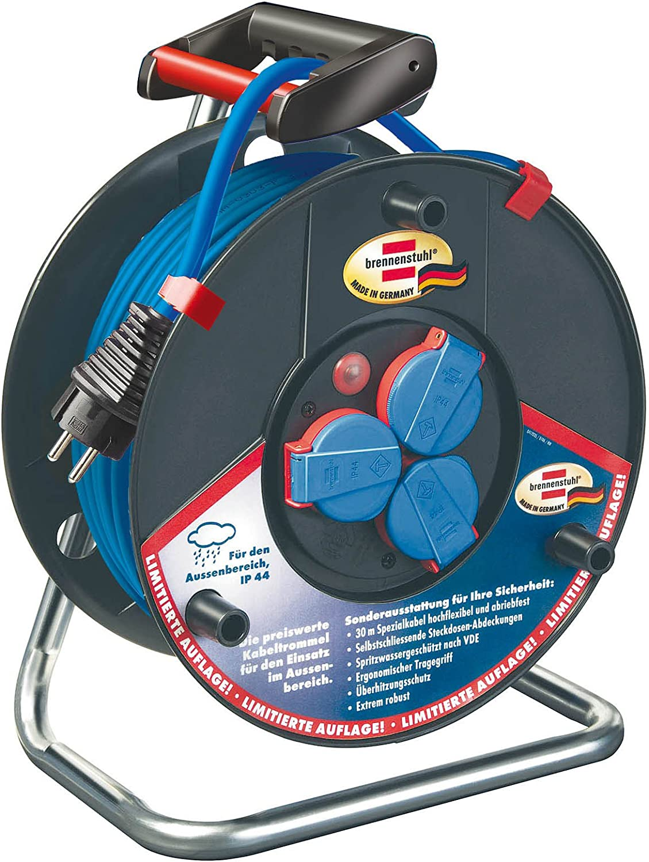 Brennenstuhl Garant Ip44 Super Solid Kabeltrommel 30m Kabel Spezialkunststoff Einsatz Im Außenbereich Made In Germany Blau Baumarkt