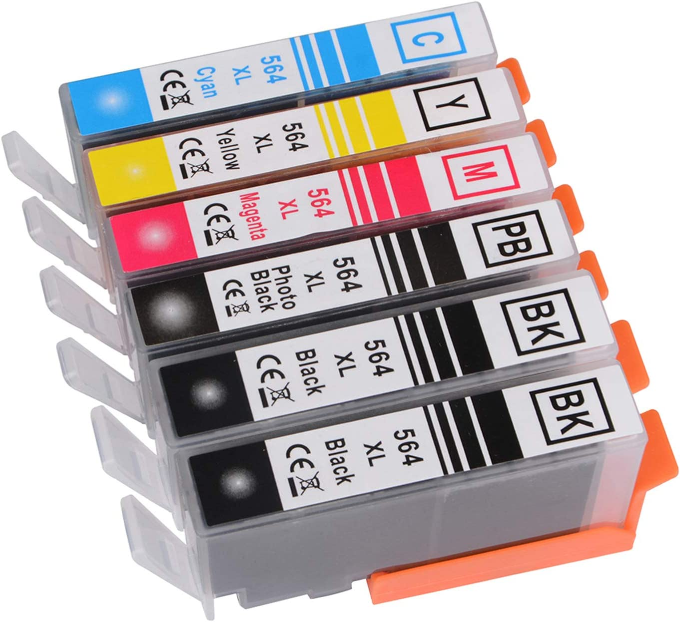 CHAILLY Compatible Ink Cartridges Replacement for HP 564 564XL for HP PhotoSmart 3520 4620 5510 5514 5520 c410a Printer (2Large Black, 1Photo Black,1 Cyan,1 Magenta, 1Yellow ) 6 Pack