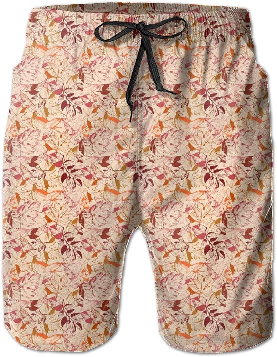 Mens Swim Trunks Quick Dry Autumn Leaf Pattern Art Printed Summer Beach Shorts Board Beach Short