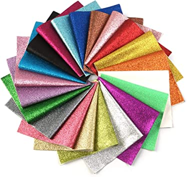David Accessories Shiny Superfine Glitter Faux Leather Sheets Solid Color Synthetic Leather Fabric 21 Pcs 8 X 13 20 X 34cm Canvas Back Assorted