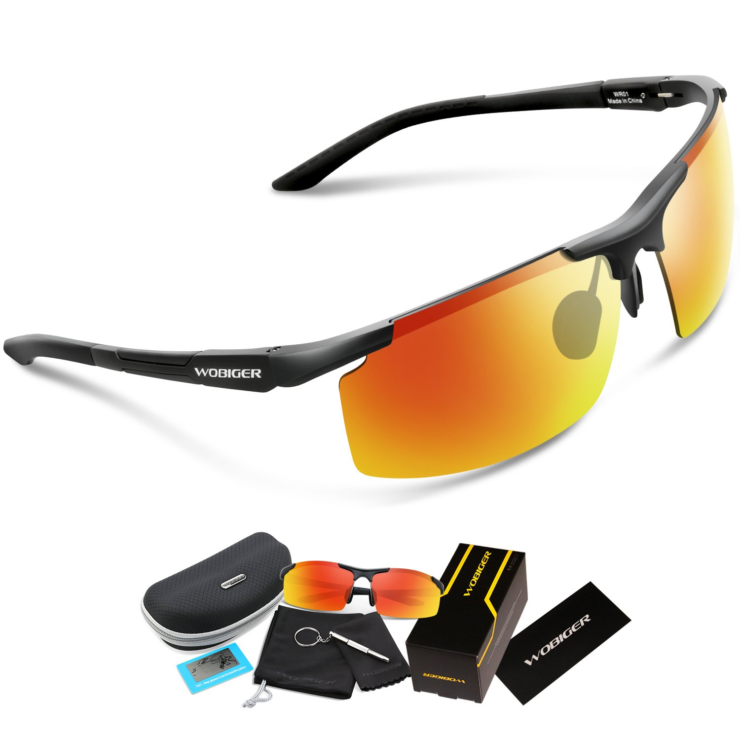f72a7e3d7c9 Amazon.com   WOOLIKE Men s Sports Style Polarized Sunglasses for Cycling  Running Fishing Driving Golf Unbreakable Al-Mg Frame Metal Glasses  (Black Red Lens) ...