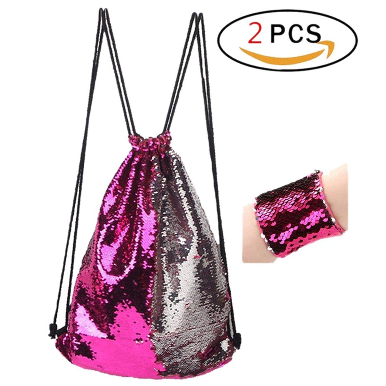 Switty sir/ène Paillettes Sac avec Bracelet pour les filles Un ensemble de r/éversible magique et Wristband Glitter Drawstring Backpack