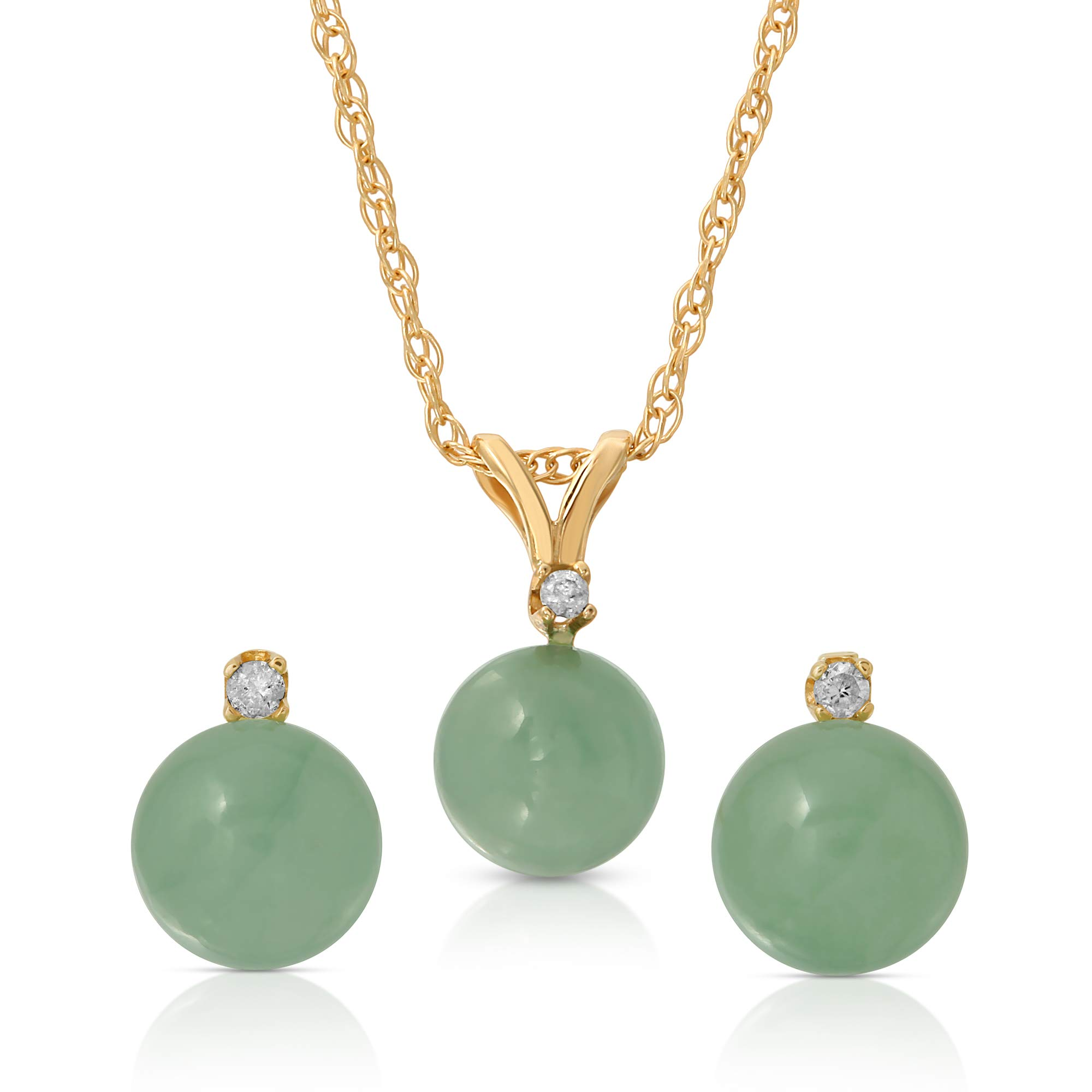 Regalia by Ulti Ramos 14K Gold Genuine Jade 2pcs Earring and Pendant Set with .03cts of White Diamonds 18'' (Yellow Gold)