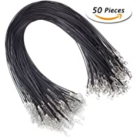 Niome 50 Pieces 18 Inches 1.5mm Black Waxed Necklace Cord with Lobster Clasp for Jewelry Making