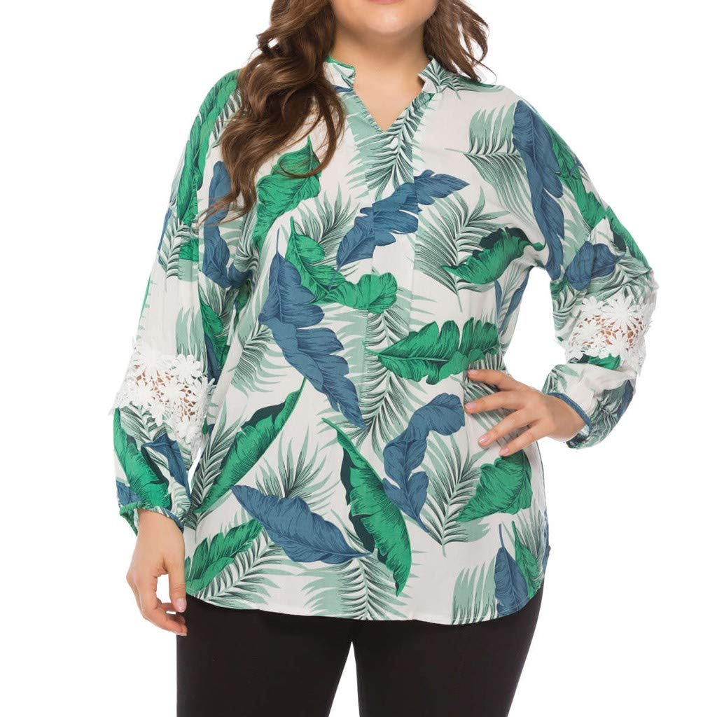 IEason Women Leaf Print Blouse Women Casual V-Neck Long Sleeve Plus Size Tops Loose T-Shirt Green