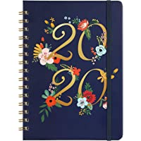 """Planner 2020 - Weekly & Monthly Planner with Tabs, January 2020 - December 2020, 6.30"""" x 8.45"""", Floral Cover with Twin-Wire Binding, Banded + Inner Pocket + Thick Paper"""