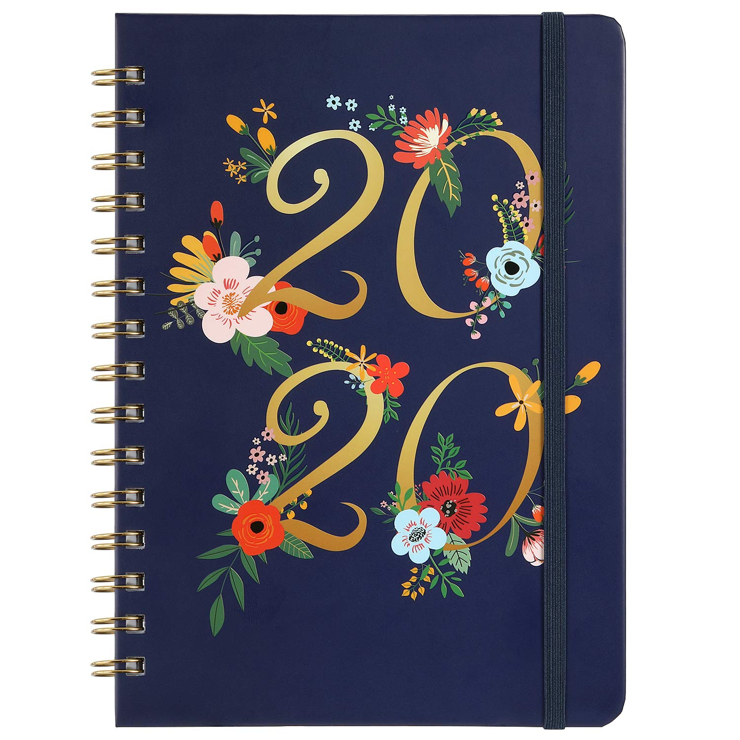 Banded Inner Pocket Floral Cover with Twin-Wire Binding Weekly /& Monthly Planner with Tabs January 2020 December 2020 Thick Paper 6.30 x 8.45 Planner 2020