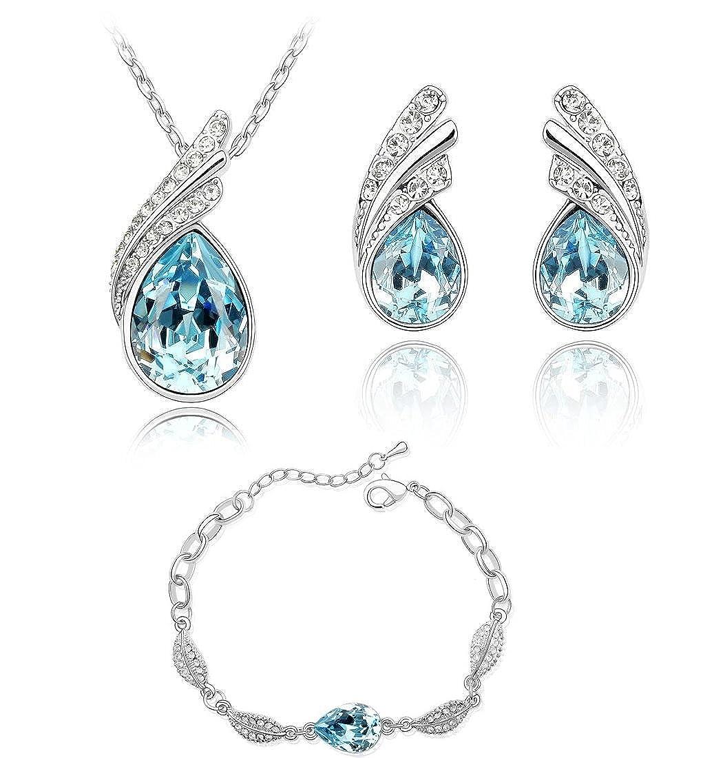 Lágrimas Crystals from Swarovski Azul Aguamarina simulada Juego de joyas Collar Pendientes Pulsera 18k Chapado en oro blanco Crystalline CR-AZ-0430