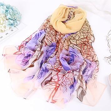 DYEWD Foulards,foulard Femme, 2018 nouvelle écharpe, foulard en mousseline  de soie printemps 0d728fde2ac