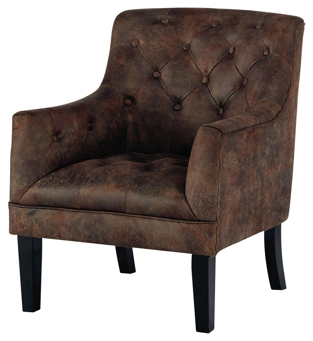 Signature Design by Ashley - Drakelle Accent Chair - Casual - Faux Leather - Brown - Corner-blocked frame Upholstered in a distressed brown faux leather Attached back and seat cushions - living-room-furniture, living-room, accent-chairs - 71vZMNYWkML -