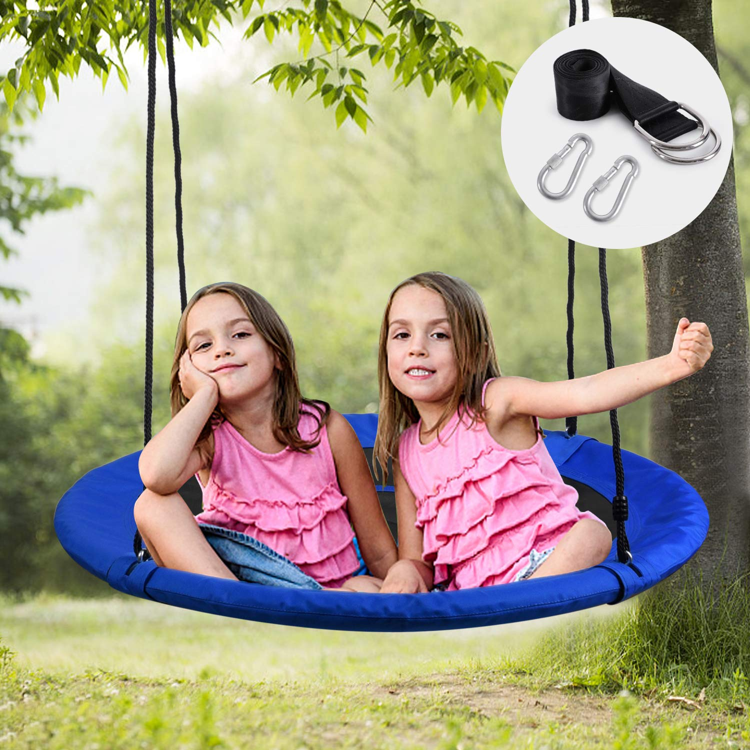 WONDERVIEW Tree Swing, Outdoor Swing with Hanging Strap Kit, 40 Inch Diameter 600lb Weight Capacity, Great for Playground Swing, Backyard and Playroom by WONDERVIEW