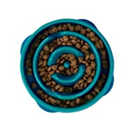 Outward Hound Kyjen 51006 Fun Feeder Slow Feed Interactive Bloat Stop Dog Bowl, Small, Turquoise