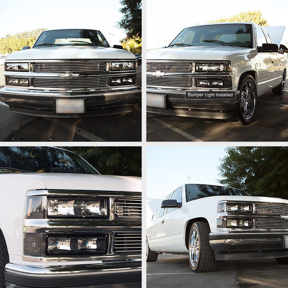 Metallic Chrome Housing Driver and Passenger Side VIPMOTOZ Front Bumper Fog Light Assembly For 1988-1998 Chevy GMC C//K 1500 2500 3500 Blazer