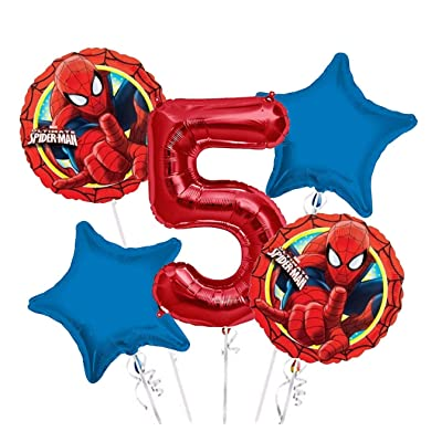 Spiderman Balloon Bouquet 5th Birthday 5 pcs - Party Supplies: Toys & Games