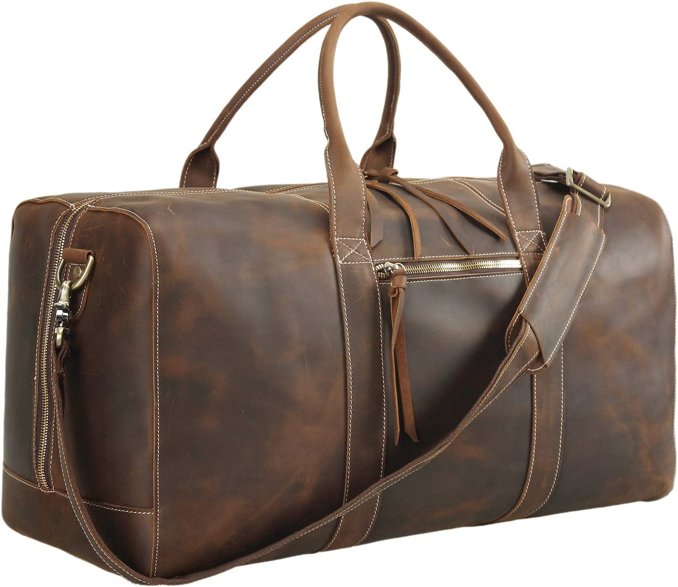 Tiding Leather Travel Duffel Bag 22 Large Retro Gym Weekender Overnight Hand Luggage Bag For Men