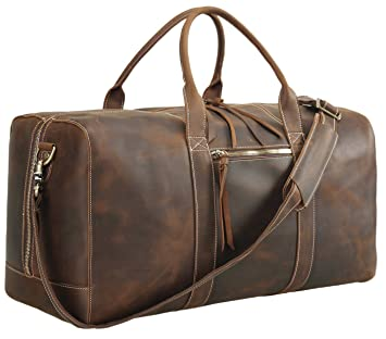 517fc7f98ea8 Amazon.com | Polare Mens Genuine Leather Duffel Bag Overnight Travel ...