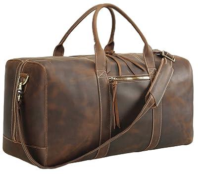 Polare 23.2'' Full Grain Leather Duffel Bag Overnight Travel Duffle Weekender Bag