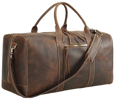 Polare Mens Genuine Leather Duffel Bag Overnight