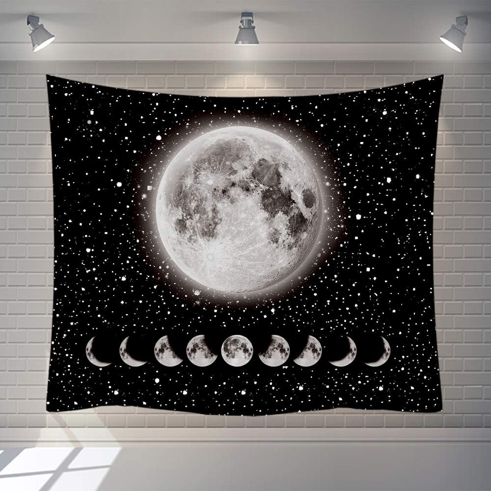 Moon Tapestry,Rarebit Lunar Eclipse Tapestry Universe Stars Space TapestryBlack and WhiteTapestry Starry Night Tapestry Wall Hanging for Bedroom Living Room Decor(59.1