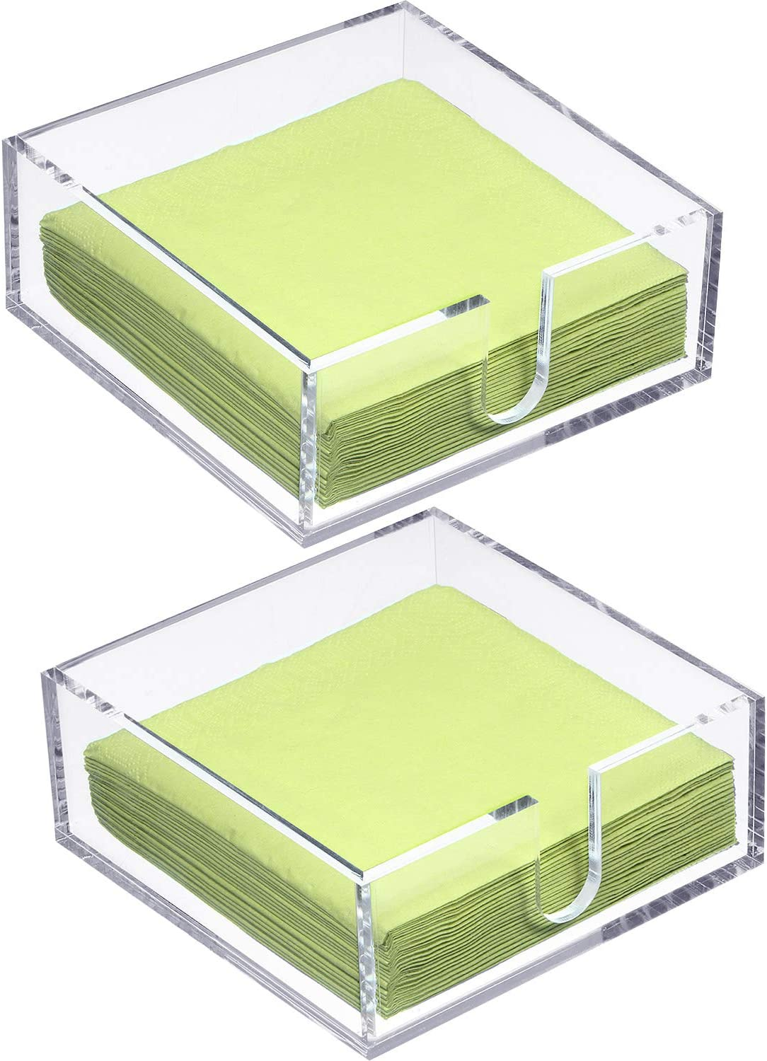 2 Pieces Acrylic Cocktail Napkin Holder, Clear Napkin Holder Square Rectangle Napkin Holder for Lunch Dinner Guest, Kitchen, Bathroom, Restaurant, Office, 5 mm Thickness (5.5 x 5.5 Inch)