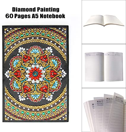 DIY Mandala Special Shaped Diamond Painting 60Pages A5 Notebook Diary Book Kits