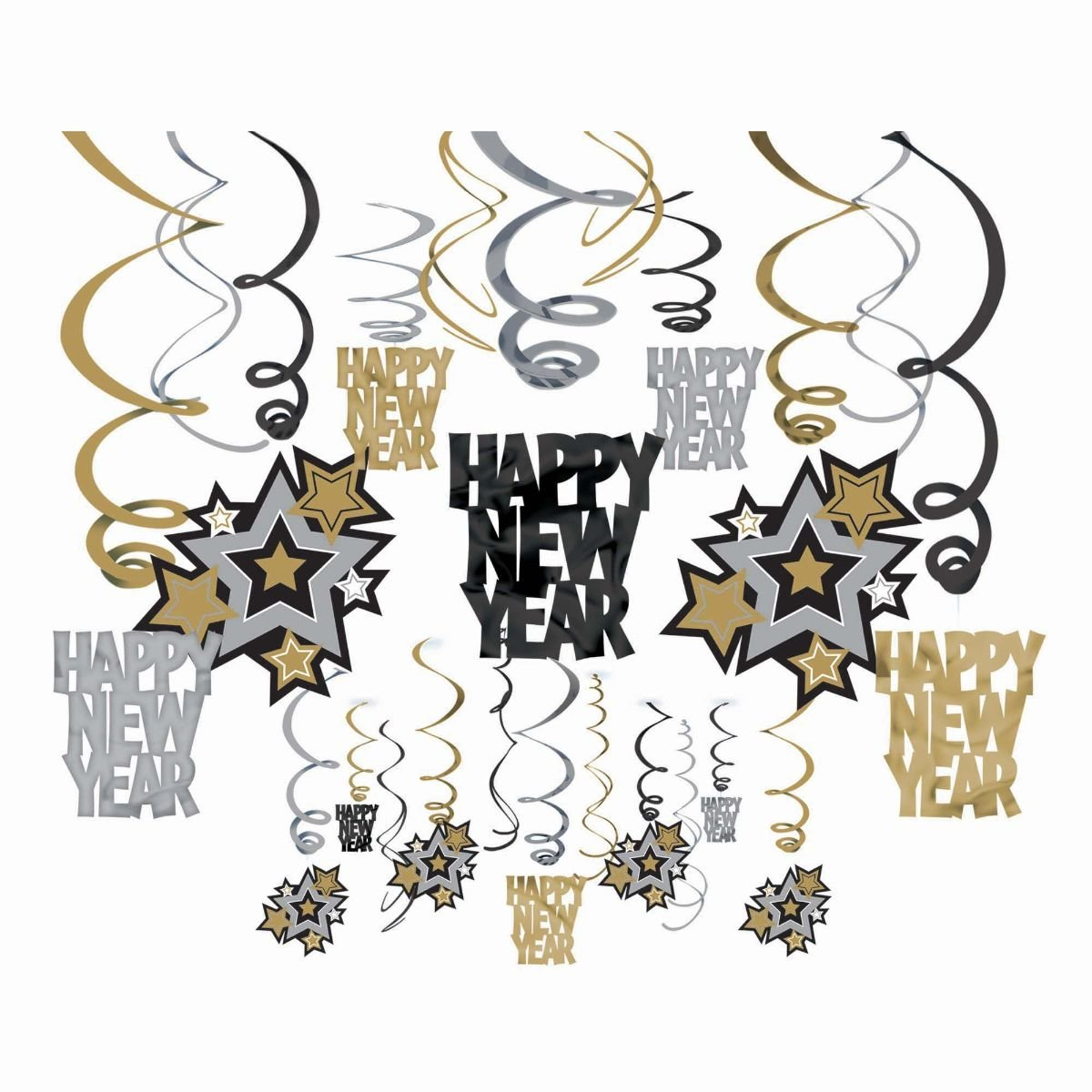 70off amscan rocking new year party hanging swirl decorations pack of 30
