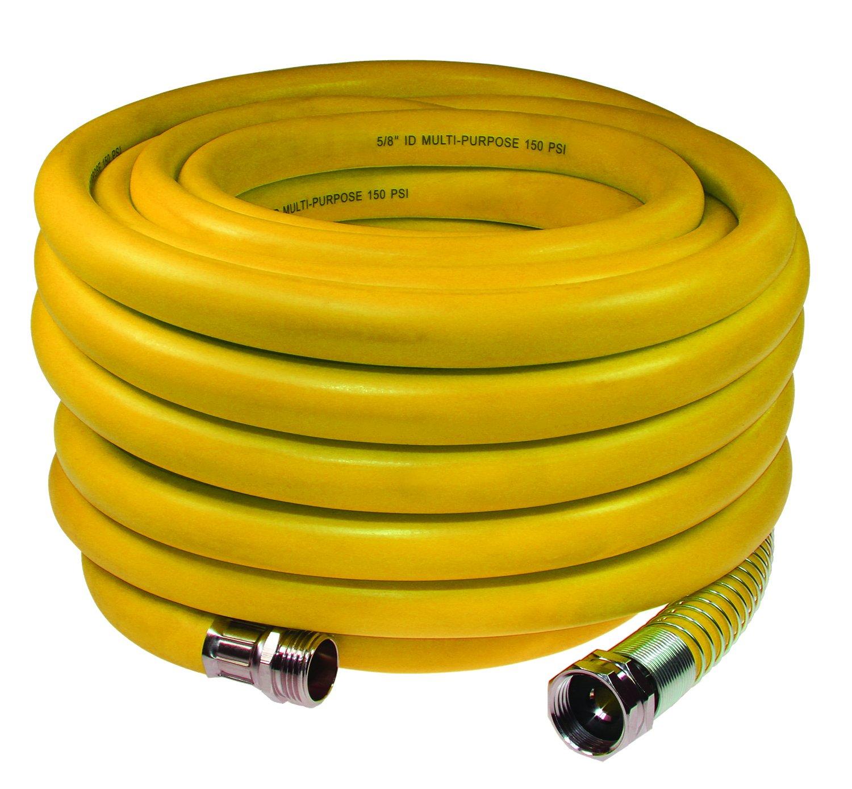 Coilhose Pneumatics YBW5850Y Belly Industrial Wash Down Hose, 5/8'' x 50', 3/4'' GHT Fittings, Yellow, Hybrid PVC with Plated Brass Fittings by Coilhose Pneumatics