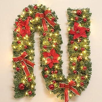 HELEVIA - Guirnalda navideña de 2,7 m con Luces LED, Funciona con Pilas, iluminación Artificial, para escaleras, chimeneas y árboles de Navidad: Amazon.es: Hogar