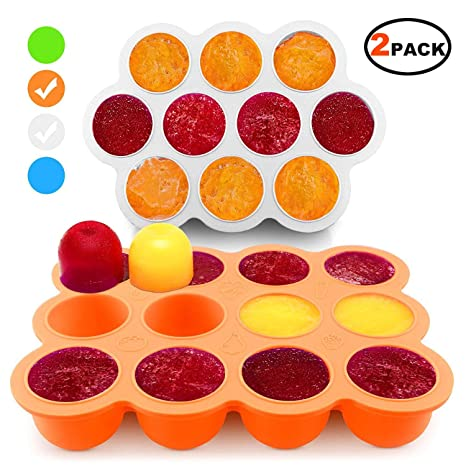 Silicone Freezer Tray for Baby Food Storage 2 Pack- Reusable Baby Food Storage Containers - Vegetable & Fruit Purees and Breast Milk - BPA FREE & FDA ...